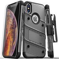 ZIZO BOLT Series iPhone Xs Max Case Military Grade Drop Tested with Tempered Glass Screen Protector Holster Kickstand GUN METAL GRAY 1BOLT-IPHXSMAX-MGRBK