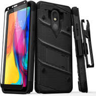 ZIZO BOLT Series LG Stylo 5 Case Military Grade Drop Tested with Full Glass Screen Protector Holster and Kickstand Black Black BOLT-LGSTL5-BKBK