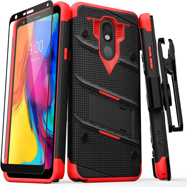 ZIZO BOLT Series LG Stylo 5 Case Military Grade Drop Tested with Full Glass Screen Protector Holster and Kickstand Black Red BOLT-LGSTL5-BKRD