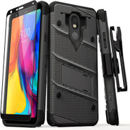 ZIZO BOLT Series LG Stylo 5 Case Military Grade Drop Tested with Full Glass Screen Protector Holster and Kickstand Gun Metal Gray BOLT-LGSTL5-MGRBK