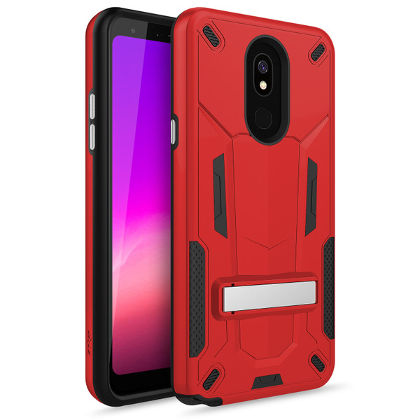 ZIZO TRANSFORM Series Compatible with LG Stylo 5 Case Dual Layered with Built in Kickstand Slim and Shockproof Red Black TFM-LGSTL5-RDBK