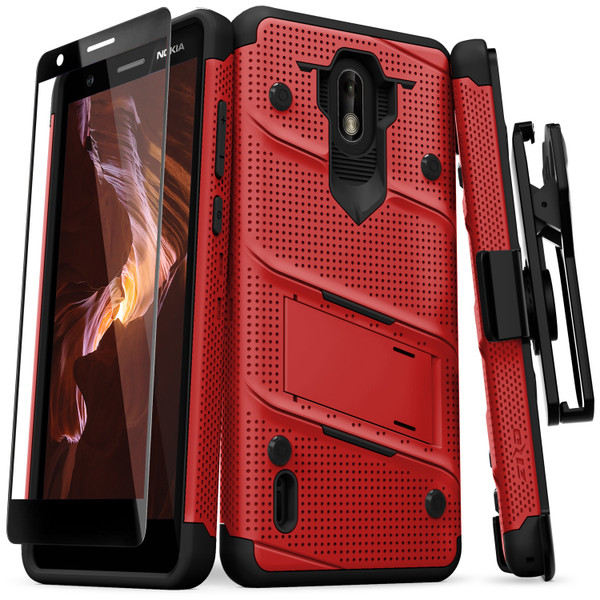 ZIZO BOLT Series Nokia 3.1 C Case Military Grade Drop Tested with Full Glass Screen Protector Holster and Kickstand Red Black BOLT-NOK31C-RDBK