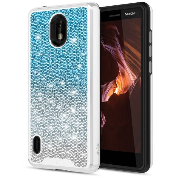 ZIZO WANDERLUST Series Compatible with Nokia 3.1 C Case Dual Layer with Glitter Design Cosmic Dust WDL-NOK31C-CD
