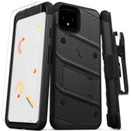 ZIZO BOLT Series Google Pixel 4 Case | Heavy-duty Military-grade Drop ProtectION w/ Kickstand Included Belt Clip Holster Tempered Glass Lanyard (Black/Black) BOLT-GOOGPL4-BKBK