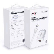 ZIZOCharge 2in1 H10 Travel Adapter and 6ft MFi Certified Cable Compatible with iPhone XS Max XR X 8 Plus 7 Plus 6s Plus 6 Plus SE 5S 5C iPad White 2IN1-TCLTNM6-WH