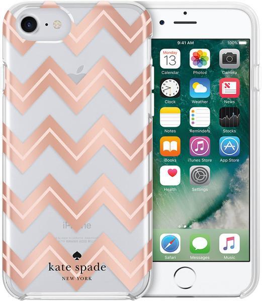 Kate Spade - Hardshell Case for Apple iPhone 8 / 7 / SE - Moroccan Chevron Clear / Blush / Rose Gold Foil