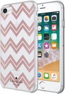 Kate Spade - Hardshell Case for Apple iPhone 8 / 7 / SE - Chevron Rose Gold Glitter / Clear