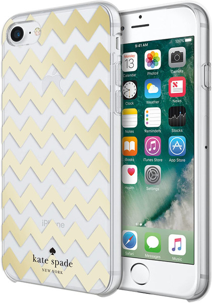Kate Spade - Hardshell Case for Apple iPhone 8 / 7 / SE - Chevron Gold Foil / Clear