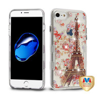 iPhone 8 Transparent Clear/Paris in Full Bloom Diamante TUFF Panoview Hybrid Protector Cover (with Package)