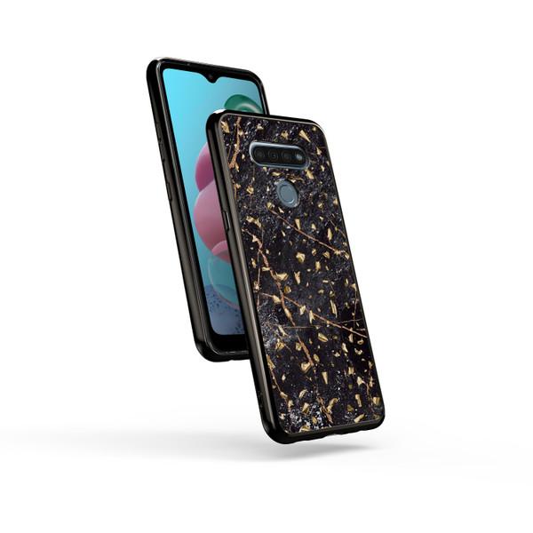 ZIZO REFINE Series for LG K51 / LG Reflect Case - Thin Glitter Design - Black Marble RFE-LGK51-BKMR