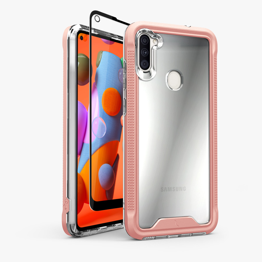 Zizo Ion Series For Samsung Galaxy A11 Case Military Grade Drop Tested With Tempered Glass Screen Protector Rose Gold Ionc Samga11 Rgdcl