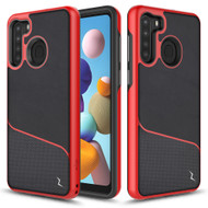 ZIZO DIVISION Series for Samsung Galaxy A21 Case - Sleek Modern Protection - Black & Red DVS-SAMGA21-BKRD