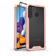 ZIZO ION Series for Samsung Galaxy A21 Case - Military Grade Drop Tested with Tempered Glass Screen Protector - Rose Gold IONC-SAMGA21-RGDCL