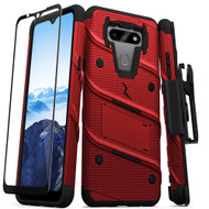 ZIZO BOLT Series for LG Fortune 3 Case with Screen Protector Kickstand Holster Lanyard - Red & Black BOLT-LGFT3-RDBK