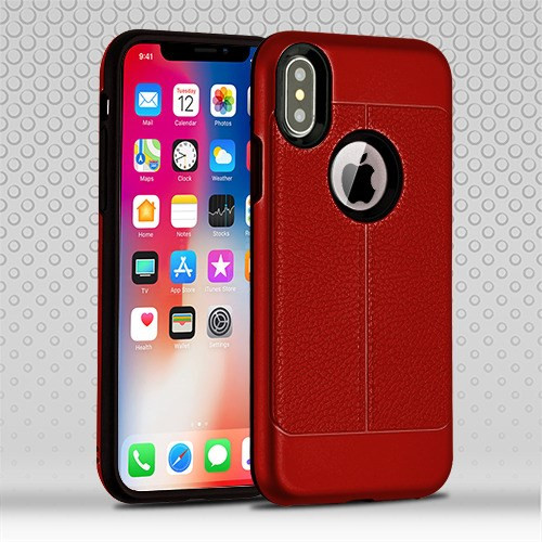 iPhone Xs Red Leather Texture/Black Hybrid Protector Cover