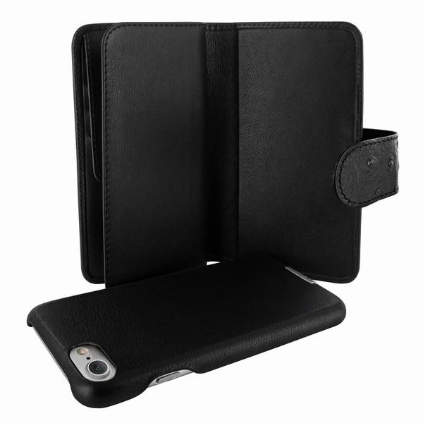 Piel Frama 764 Black Ostrich WalletMagnum Leather Case for Apple iPhone 7
