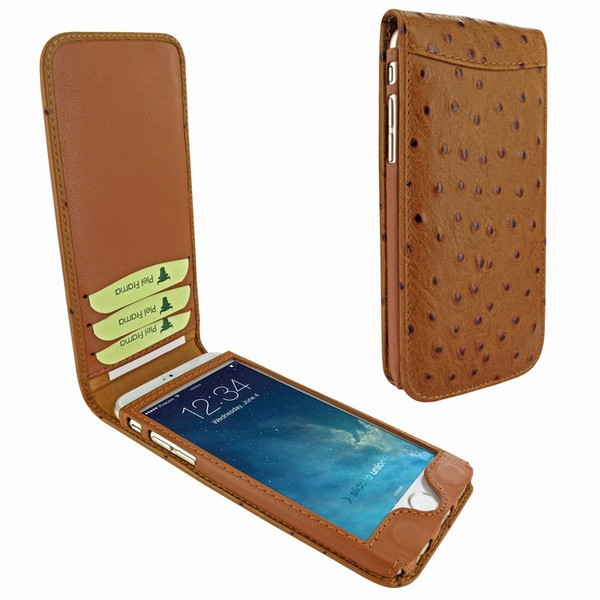 Piel Frama 761 Tan Ostrich Classic Magnetic Leather Case for Apple iPhone 7 / 8