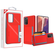 MyBat Poket Hybrid Protector Cover (with Back Film) for Samsung Galaxy Note 20 - Red / Gray