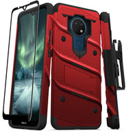 ZIZO BOLT Series for Nokia C5 Endi Case with Screen Protector Kickstand Holster Lanyard - Red & Black BOLT-NOKC5-RDBK