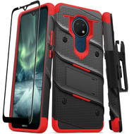 ZIZO BOLT Series for Nokia C5 Endi Case with Screen Protector Kickstand Holster Lanyard - Black & Red BOLT-NOKC5-BKRD