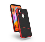 ZIZO DIVISION Series Samsung Galaxy A11 Case - Sleek Modern Protection Magnet Plate Built-In - Black & Red DVS-SAMGA11-BKRD
