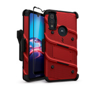 ZIZO BOLT Series for Moto E (2020) Case with Screen Protector Kickstand Holster Lanyard - Red & Black BOLT-MOTE2020-RDBK