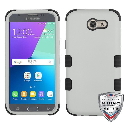 MyBat TUFF Hybrid Protector Cover [Military-Grade Certified] for Samsung J327P (J3 2017) - Rubberized Gray / Black