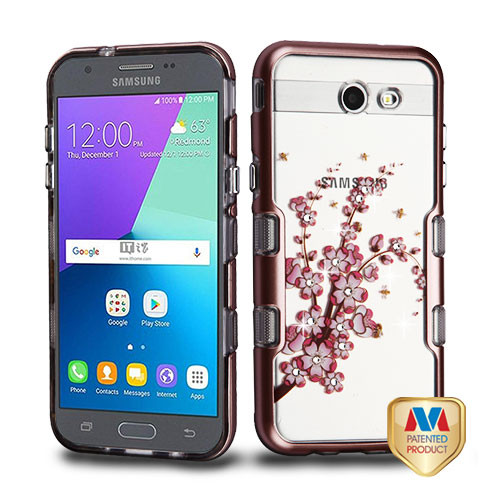 MyBat TUFF Panoview Hybrid Protector Cover for Samsung J327P (J3 2017) - Metallic Rose Gold / Spring Flowers Diamante