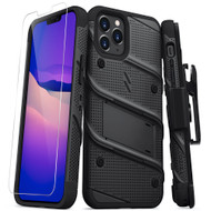 ZIZO BOLT Series for iPhone 12 / iPhone 12 Pro Case with Screen Protector Kickstand Holster Lanyard - Black BOLT-IPH1261-BKBK