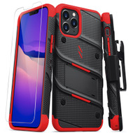 ZIZO BOLT Series for iPhone 12 / iPhone 12 Pro Case with Screen Protector Kickstand Holster Lanyard - Black & Red BOLT-IPH1261-BKRD