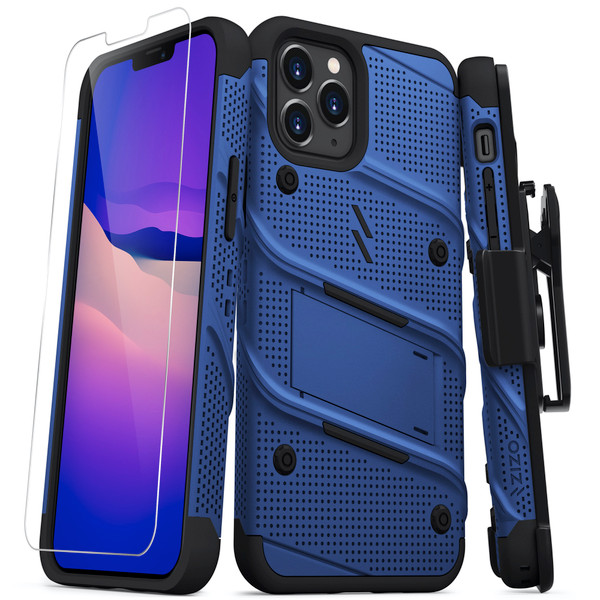 ZIZO BOLT Series for iPhone 12 / iPhone 12 Pro Case with Screen Protector Kickstand Holster Lanyard - Blue & Black BOLT-IPH1261-BLBK