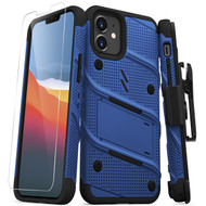 ZIZO BOLT Series for iPhone 12 Mini Case with Screen Protector Kickstand Holster Lanyard - Blue & Black BOLT-IPH1254-BLBK