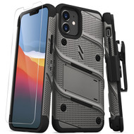 ZIZO BOLT Series for iPhone 12 Mini Case with Screen Protector Kickstand Holster Lanyard - Gun Metal Gray BOLT-IPH1254-MGRBK