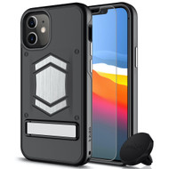 ZIZO ELECTRO Series iPhone 12 Mini Case - Kickstand  Screen Protector and Air Vent Mount - Black ELC-IPH1254-BKBK