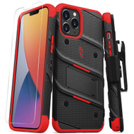 ZIZO BOLT Series for iPhone 12 Pro Max Case with Screen Protector Kickstand Holster Lanyard - Black & Red BOLT-IPH1267-BKRD