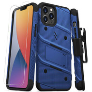 ZIZO BOLT Series for iPhone 12 Pro Max Case with Screen Protector Kickstand Holster Lanyard - Blue & Black BOLT-IPH1267-BLBK