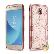 MyBat TUFF Panoview Hybrid Protector Cover for Samsung J737P (Galaxy J7 (2018)) - Metallic Rose Gold / Electroplating Rose Gold Hibiscus Flower (Transparent Clear)