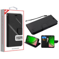 MyBat Liner MyJacket Wallet Crossgrain Series for Motorola Moto G7 Play - Black Pattern / Black