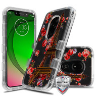 MyBat TUFF Lucid Hybrid Protector Cover [Military-Grade Certified] for Motorola Moto G7 Play - Transparent Clear / Paris in Full Bloom