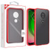 MyBat Frost Hybrid Protector Cover for Motorola Moto G7 Play - Semi Transparent Smoke Frosted / Rubberized Red