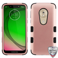 MyBat TUFF Hybrid Protector Cover [Military-Grade Certified] for Motorola Moto G7 Play - Rose Gold / Black