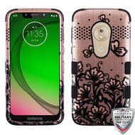 MyBat TUFF Hybrid Protector Cover [Military-Grade Certified] for Motorola Moto G7 Play - Black Lace Flowers (2D Rose Gold) / Black