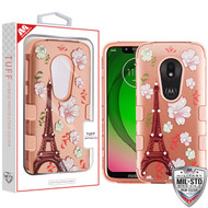 MyBat TUFF Hybrid Protector Cover (with Diamonds)[Military-Grade Certified] for Motorola Moto G7 Play - Eiffel Tower in the Season of Blooming (2D Rose Gold) / Rose Gold