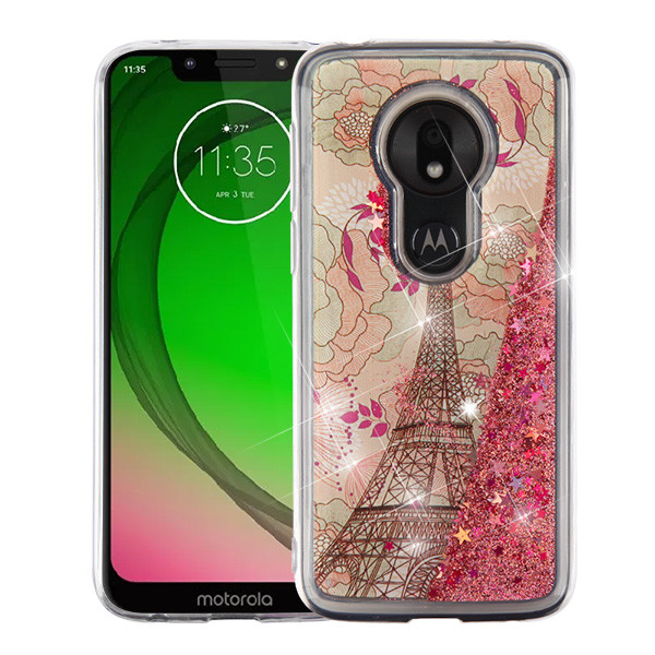 Airium Quicksand Glitter Hybrid Protector Cover for Motorola Moto G7 Play - Eiffel Tower & Rose Gold Stars