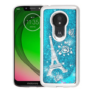 Airium Quicksand Glitter Hybrid Protector Cover for Motorola Moto G7 Play - Silver Electroplating / Eiffel Tower / Blue