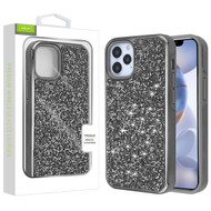 Airium Encrusted Rhinestones Hybrid Case for Apple iPhone 12 (6.1) - Electroplated Gun Metal / Iron Gray