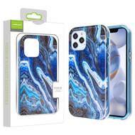 Airium Frame Hybrid Case for Apple iPhone 12 (6.1) - Blue Stone Marbling Blue