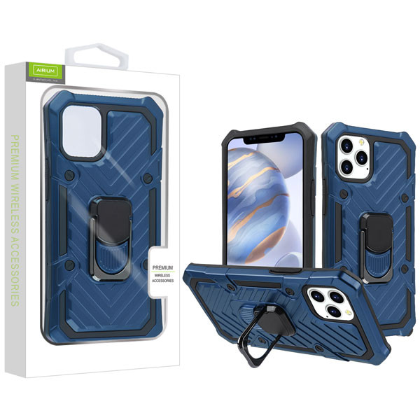 Airium Hybrid Case (with Ring Stand) for Apple iPhone 12 (6.1) - Dark Blue / Black