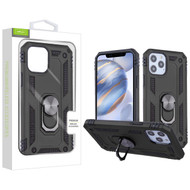 Airium Anti-Drop Hybrid Protector Case (with Ring Stand) for Apple iPhone 12 (6.1) - Black / Black