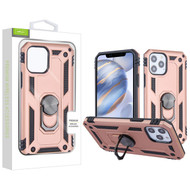 Airium Anti-Drop Hybrid Protector Case (with Ring Stand) for Apple iPhone 12 (6.1) - Rose Gold / Black